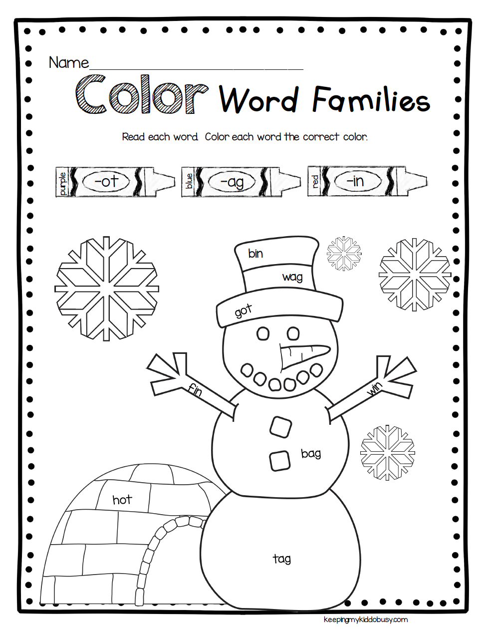 Snowman Math and Reading Activities - Winter Worksheets ...