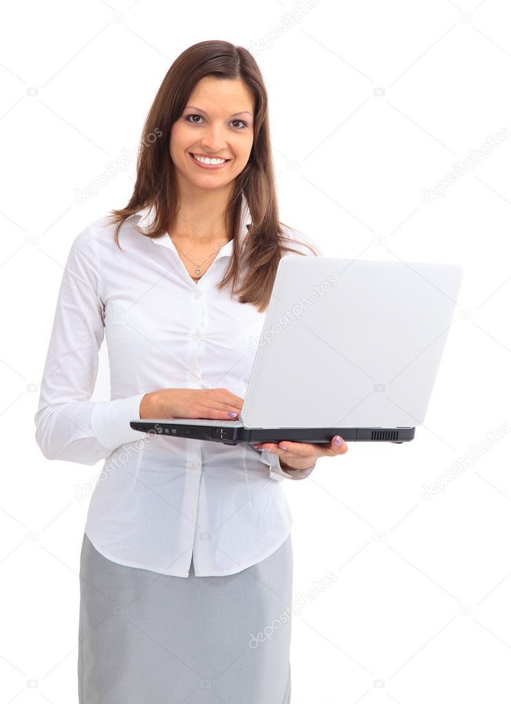 Pretty Business Woman Looking At Laptop Stock Image Sponsored