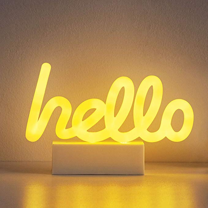 Merkury Innovations 8 Inch Led Neon Yellow Hello Sign Night Light Mood Light With Pedestal Battery Operated Wall Art Mood Light Neon Signs Light Up Signs