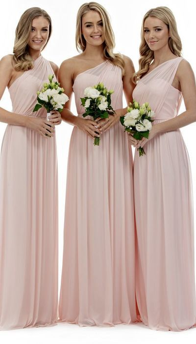 Long bridesmaid dress light pink bridesmaid dresses one for Light colored wedding dresses