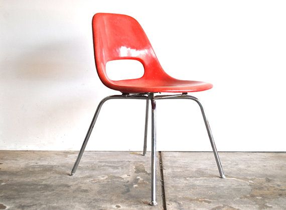 Charming Red Mid Century Chair   Fiberglass Shell Chair By Krueger