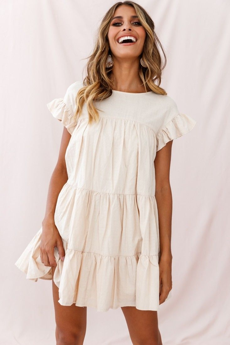 Hyacinth Ruffle Sleeve Smock Dress Beige Fashion Summer Dresses Casual Dresses [ 1100 x 733 Pixel ]