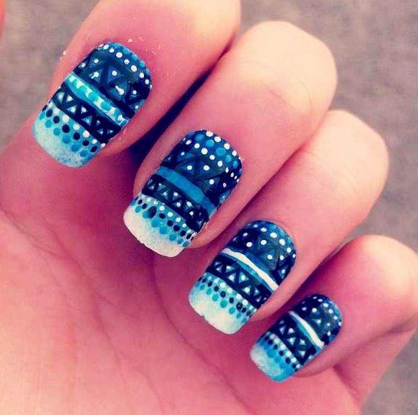 Blue Tribal Nails.