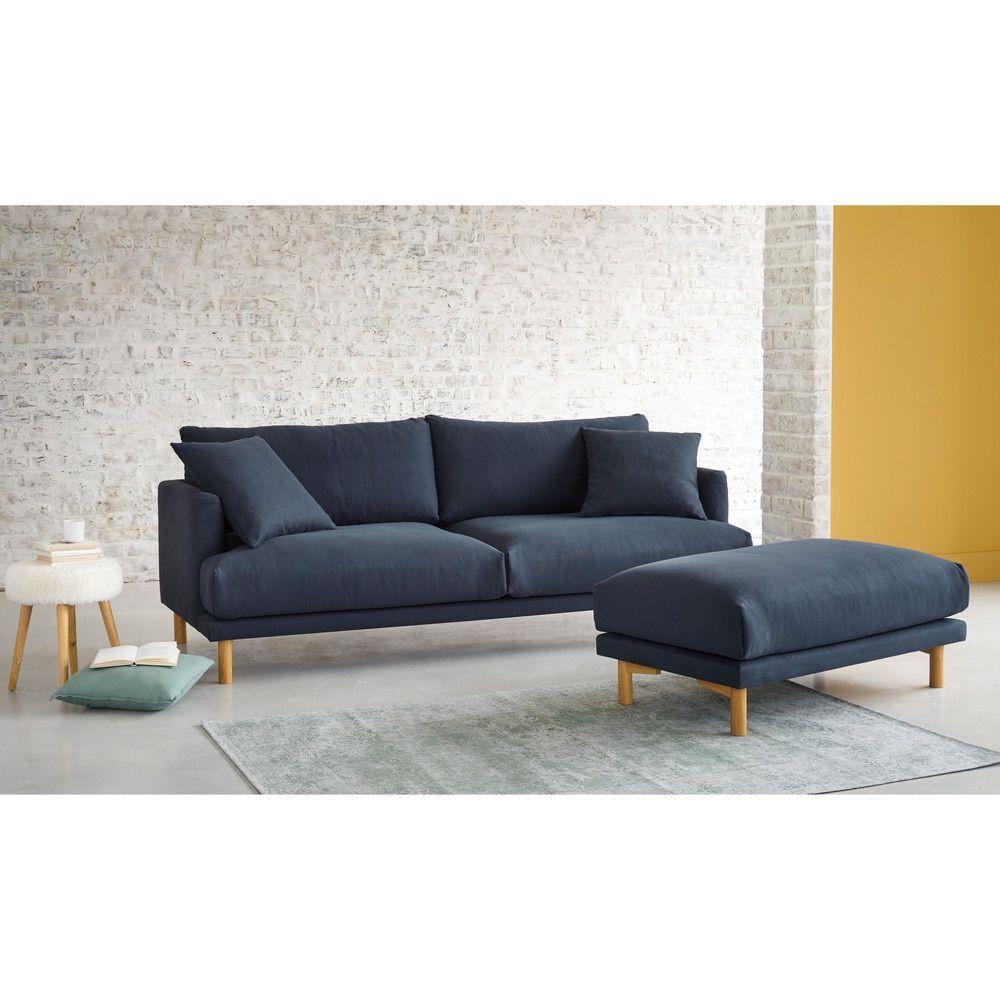 3 Sitzer Sofa Bezug Aus Baumwolle Und Leinen Hellgrau Maisons Du Monde Linen Sofa Sofa Home Living Room