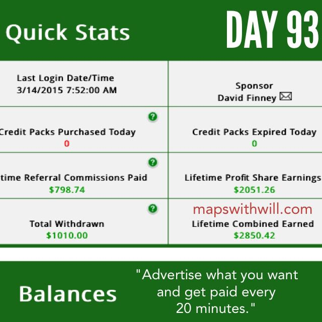 Day 93 of getting paid every 20 minutes! No selling, no phone calls. Log in, more money! :) www.mapswithwill.com