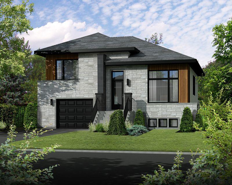 Spiro Modern Prairie Home Narrow Lot House Plans Split Level House Plans Narrow Lot House