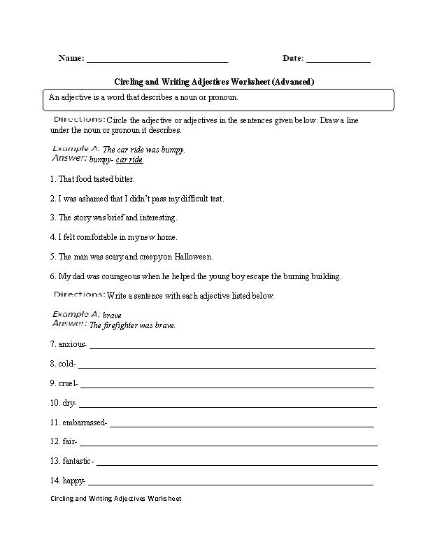 Adjectives Worksheet Advanced Breadandhearth