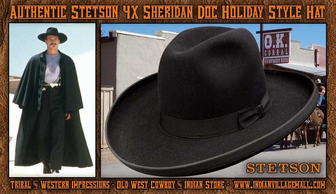 Authentic Old West Stetson 4X Sheridan Doc Holliday Style Hat From Tribal  And… 99df1f2d7a8