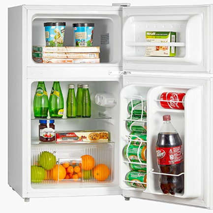 Midea Whd 113fw1 Compact Reversible Double Door Refrigerator And Freezer 3 1 Cubic Feet White Compact Refrigerator Mini Fridge Mini Fridge With Freezer