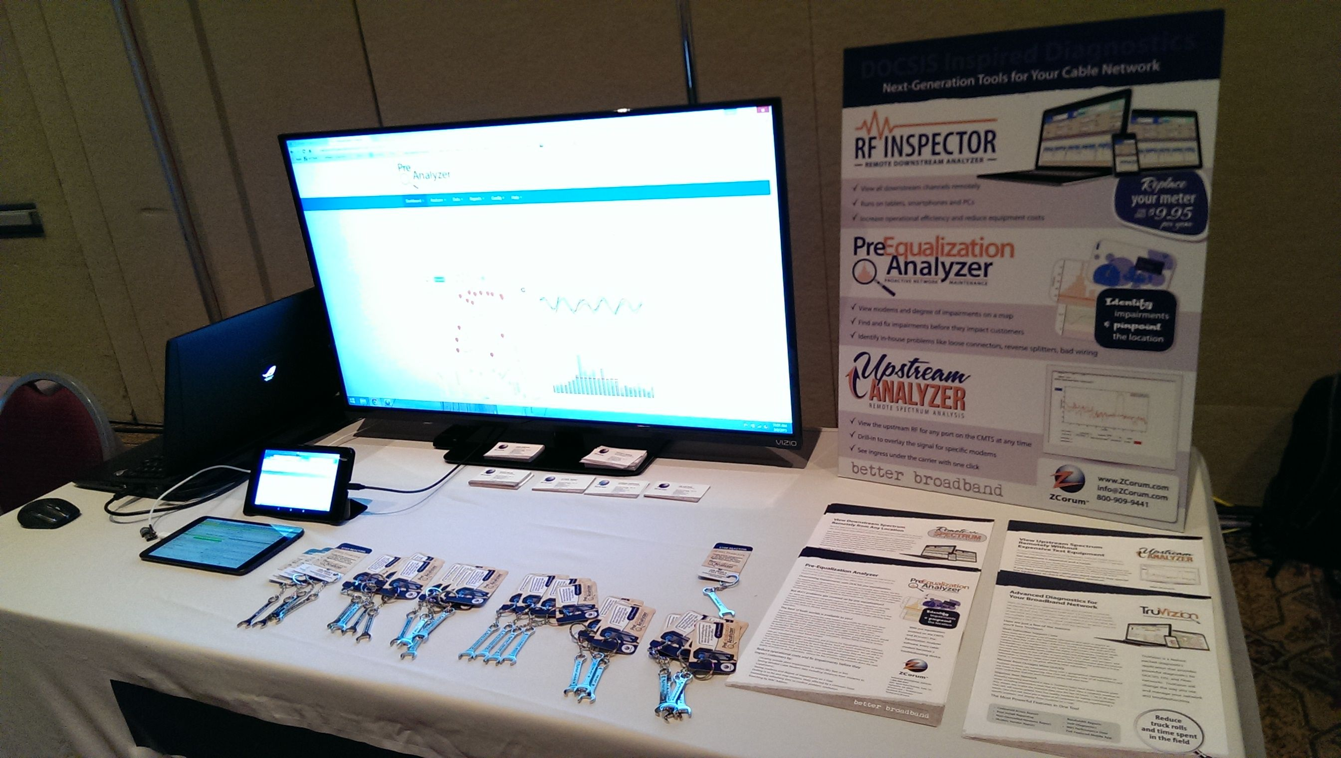 ZCorum demo table at CableLabs Winter Conference in Orlando, FL.