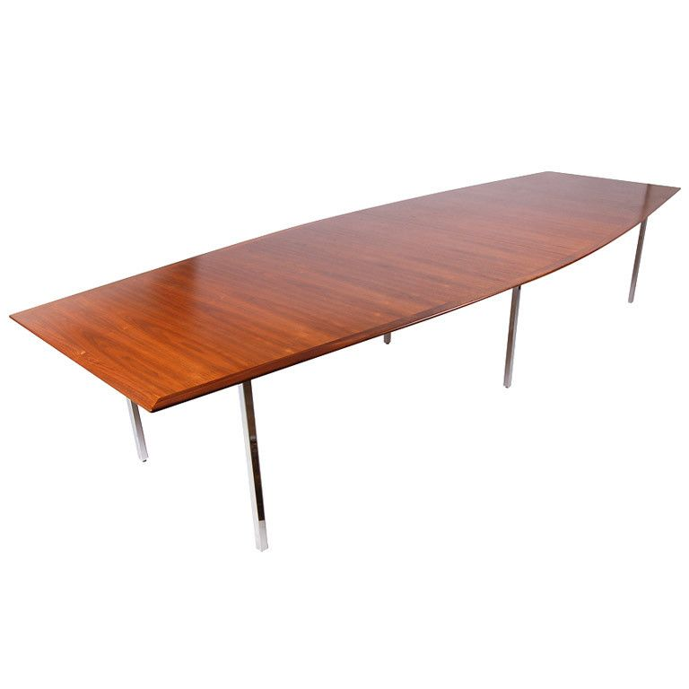 Knoll boat shaped conference dining table boating for Unusual shaped dining tables