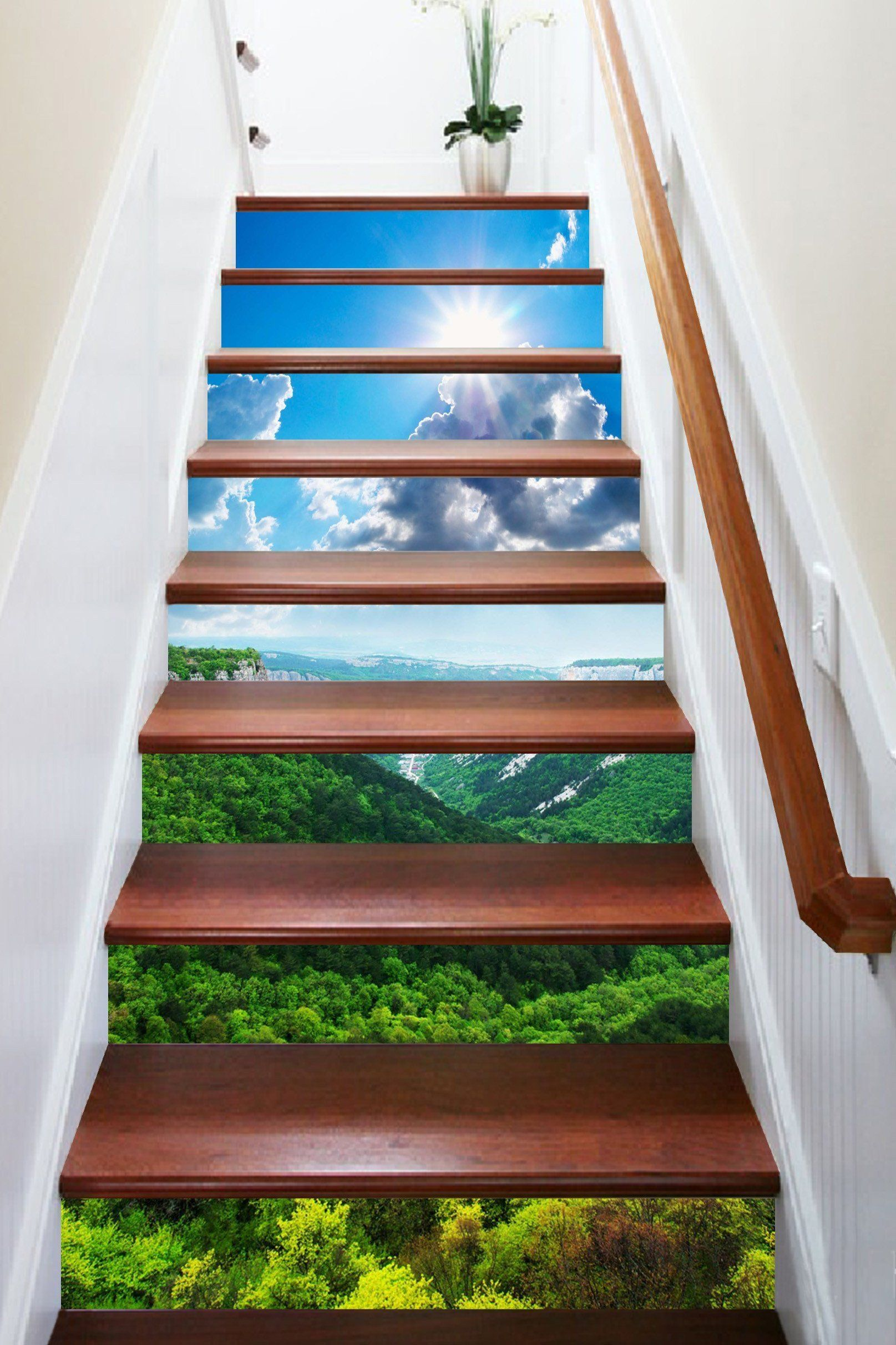 3D Mountains Scenery 1586 Stair Risers Staircase wall