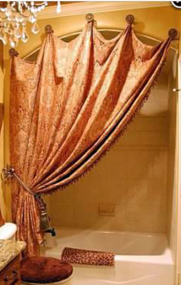 Great way to hang shower curtain decor   Curtains, Shower ...