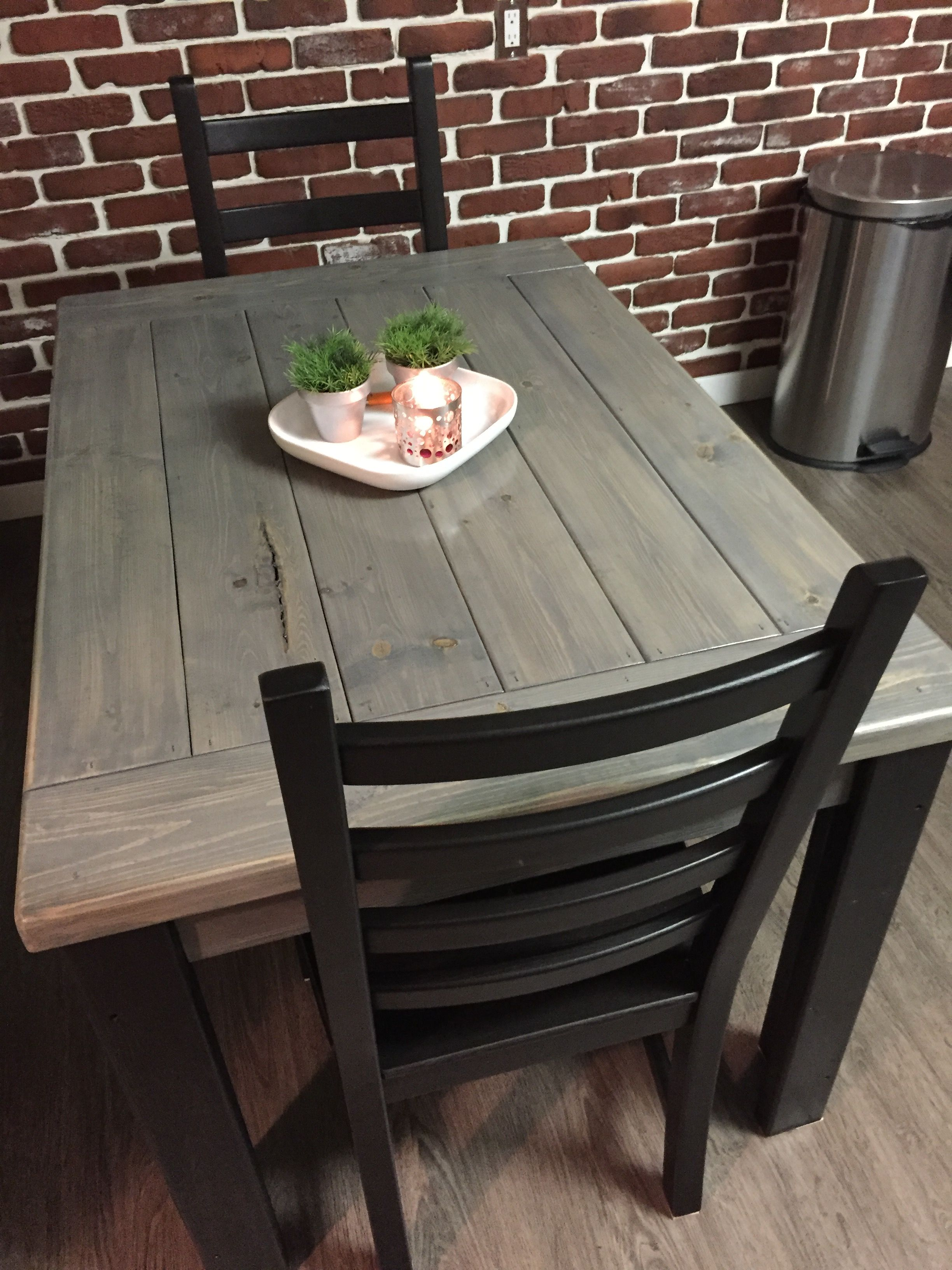 5ft Long Harvest Leg Table In Ebony And Clic Grey Stain