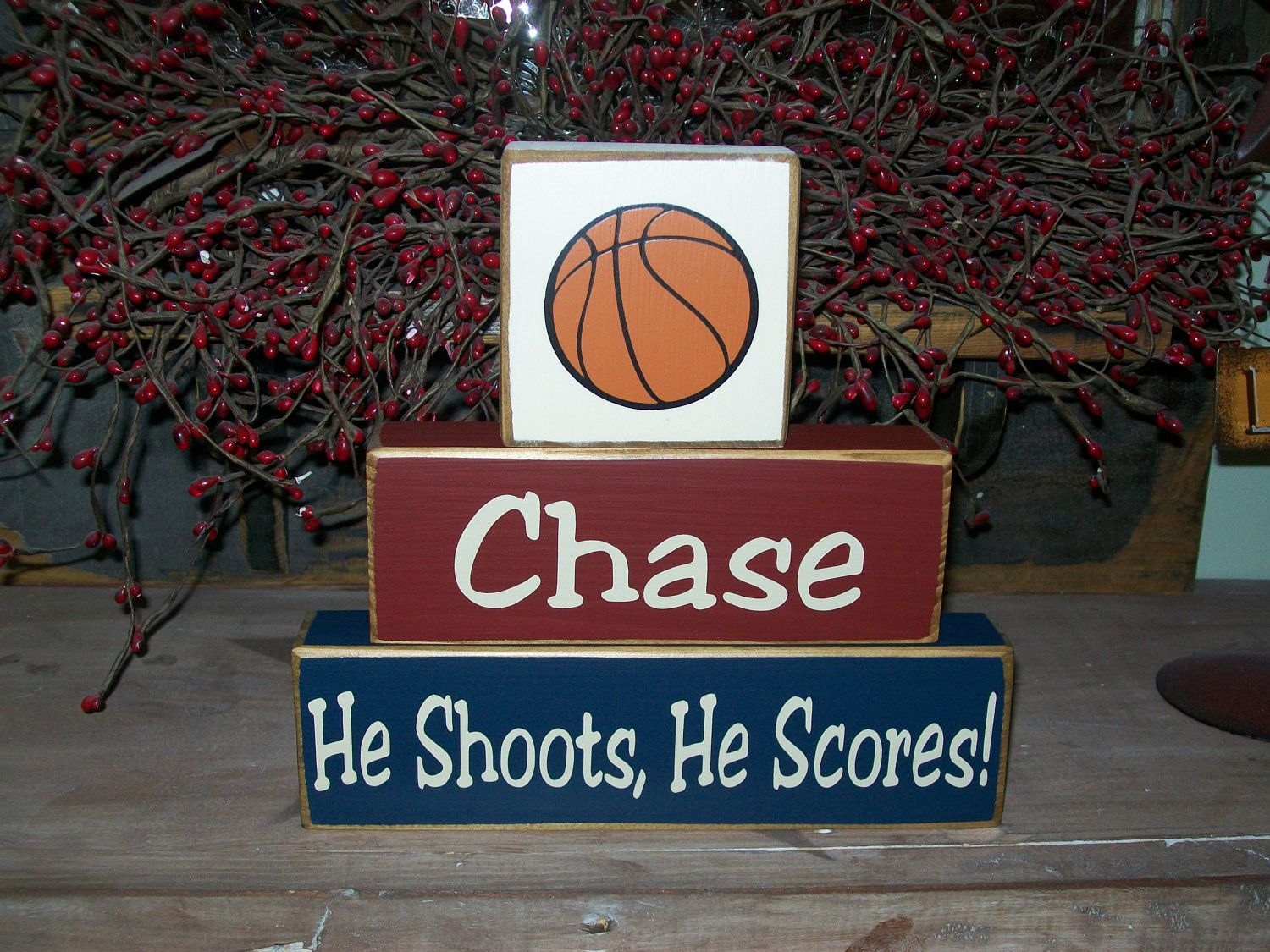Kids Sports Theme Primitive Wood Sign Blocks Basketball Baseball Football Personalized Names For
