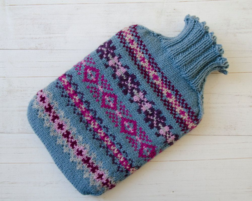 Knitted Hot water Bottle Cover Fairisle Pattern in Pure Merino Wool ...