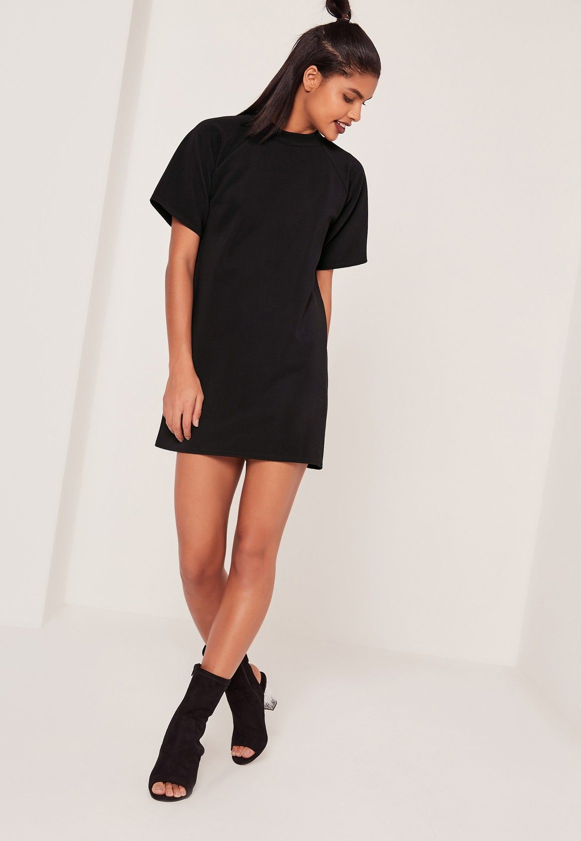 65438ebce33c Missguided - Short Sleeve Oversized T-Shirt Dress Black