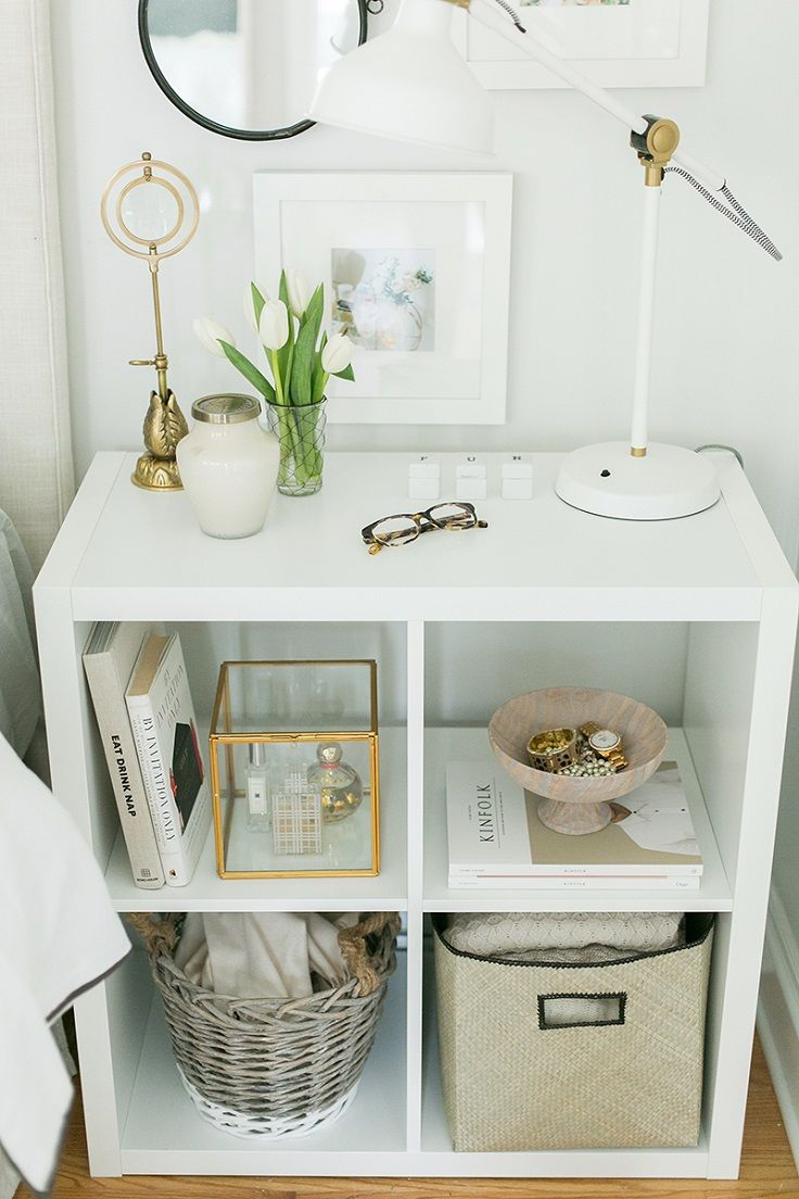 Sitting cubby night stand form an IKEA Kallax shelf  Interior