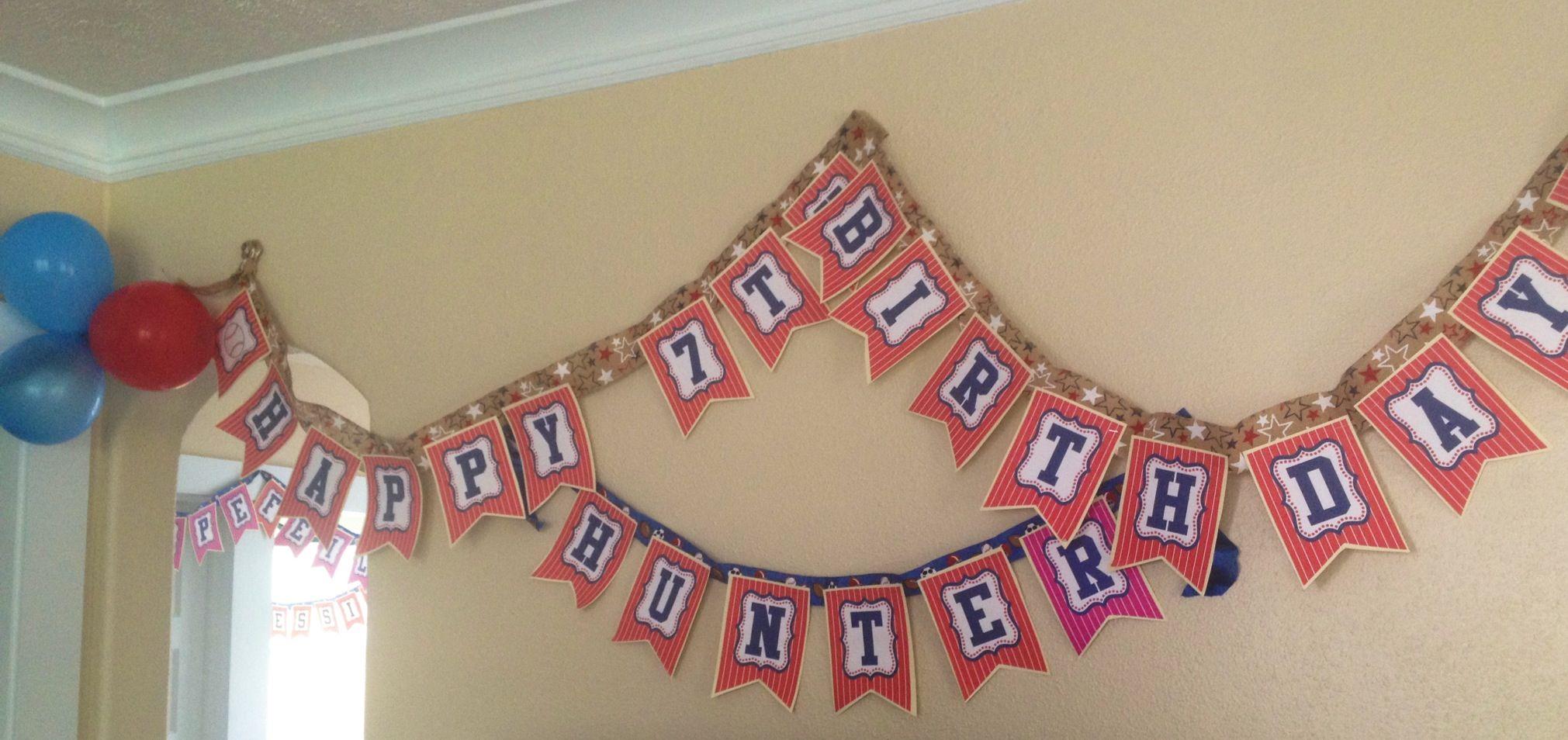 Baseball birthday banner