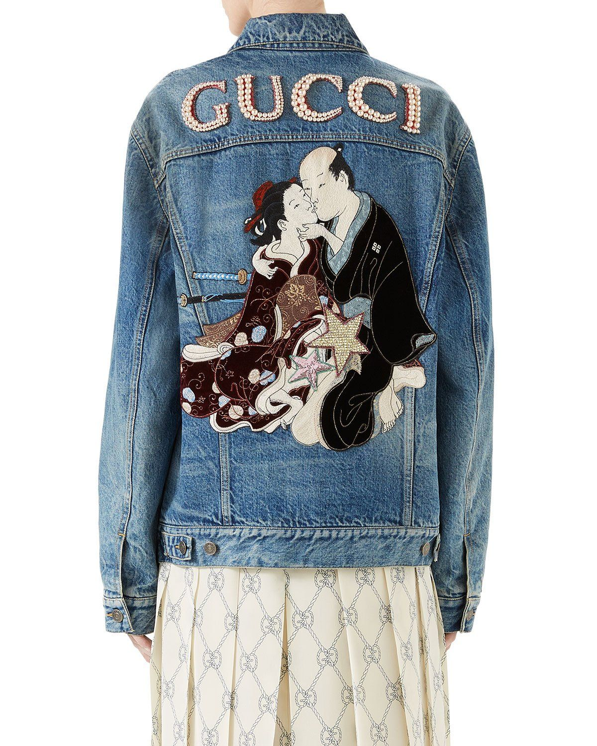 5d04c5d37 Gucci Denim Jacket with Applique | Products in 2019 | Gucci denim ...