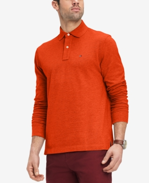 497a8306 Tommy Hilfiger Men's Classic Fit Long Sleeve Polo Shirt, Created for Macy's  - Orange M
