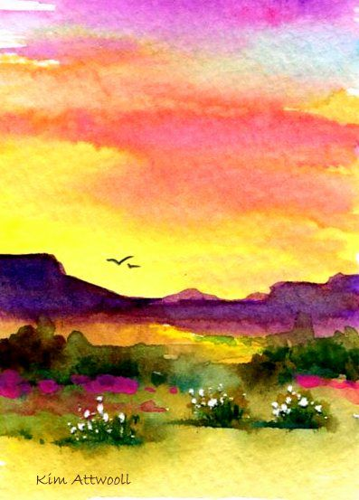 Mesa Sunset Watercolor By Kim Attwooll Watercolor Sunset
