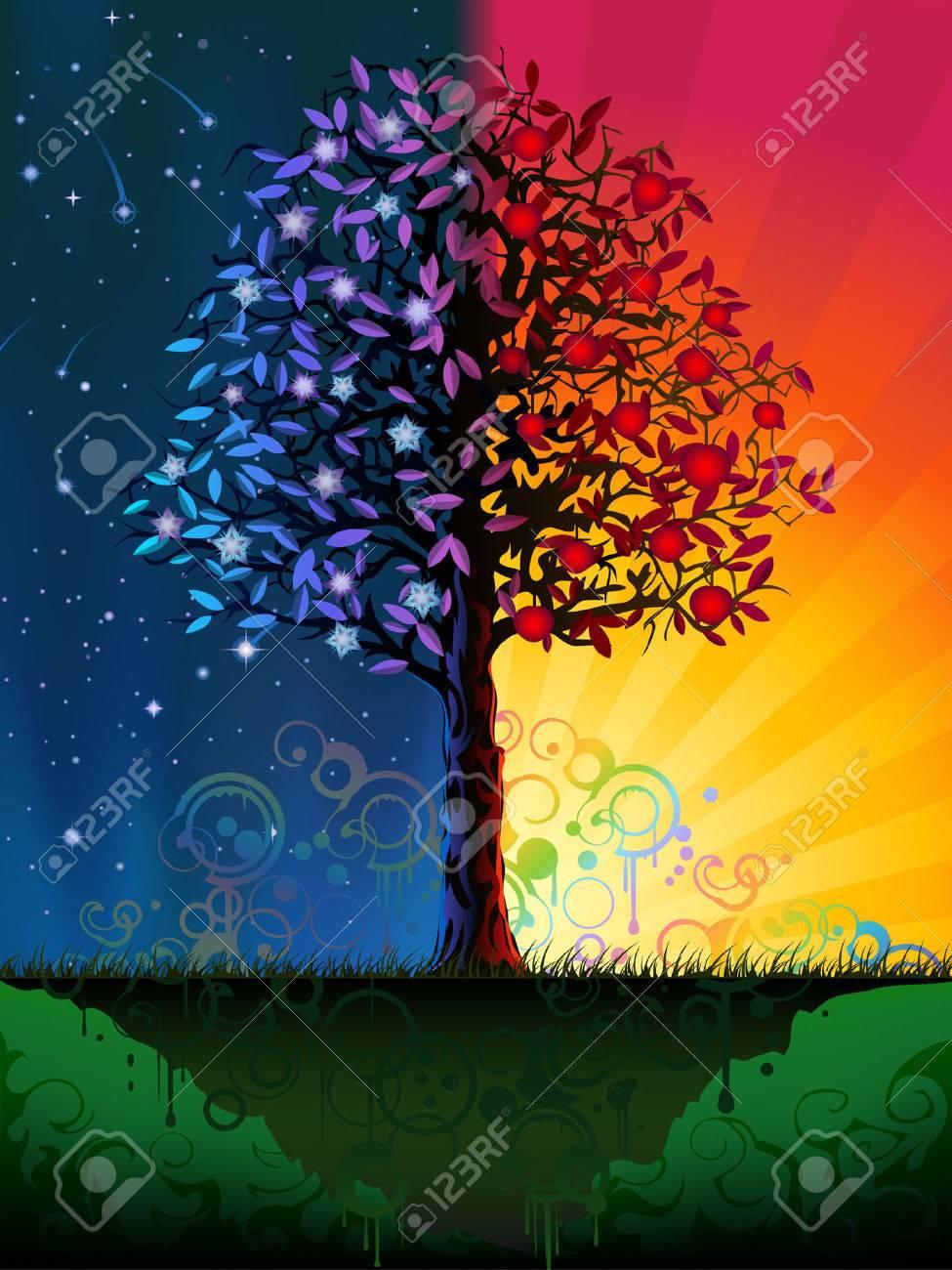Noche Y Dia Dibujos Busqueda De Google Arte De Arboles Arboles De Colores Pinturas Abstractas