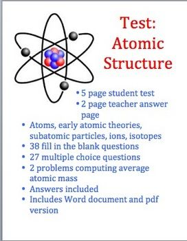 Atomic structure test chemistry class physical science and multiple choice physical science this is a test on atomic structure it is appropriate for a high school physical ccuart Choice Image