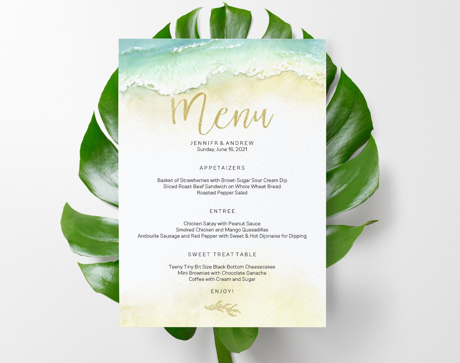 Editable Greenery Event Menu Editable 5x7 Menu Card Template Etsy Menu Card Template Event Menu Event Menu Template