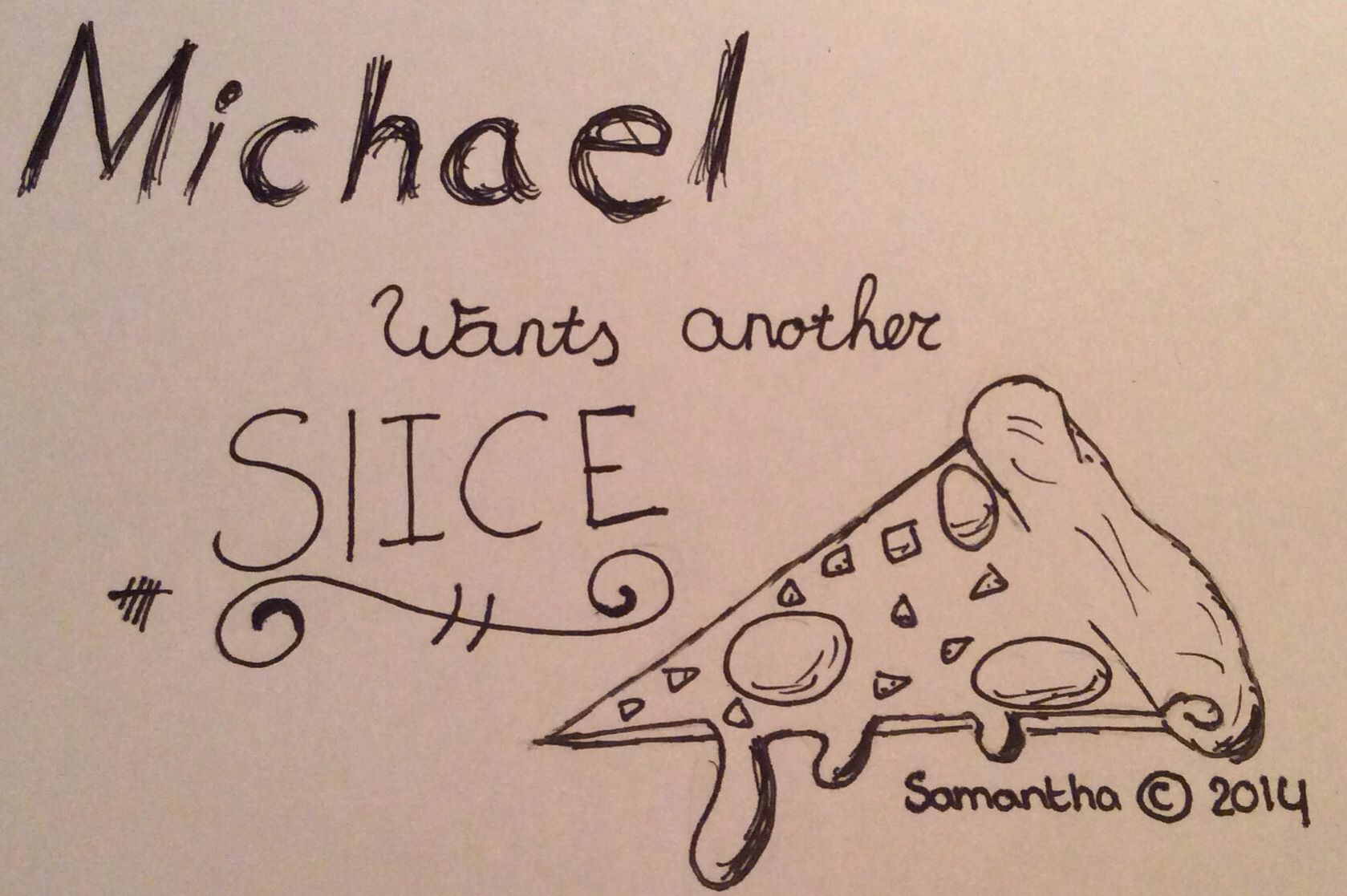 "My 5sos lyric fan art --> ""Michael wants another slice ..."