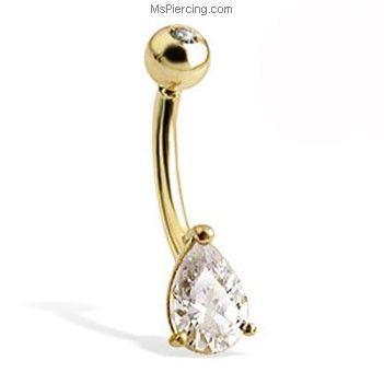 MsPiercing 14K White Gold Belly Button Ring With Round Stone And Jeweled Top Ball