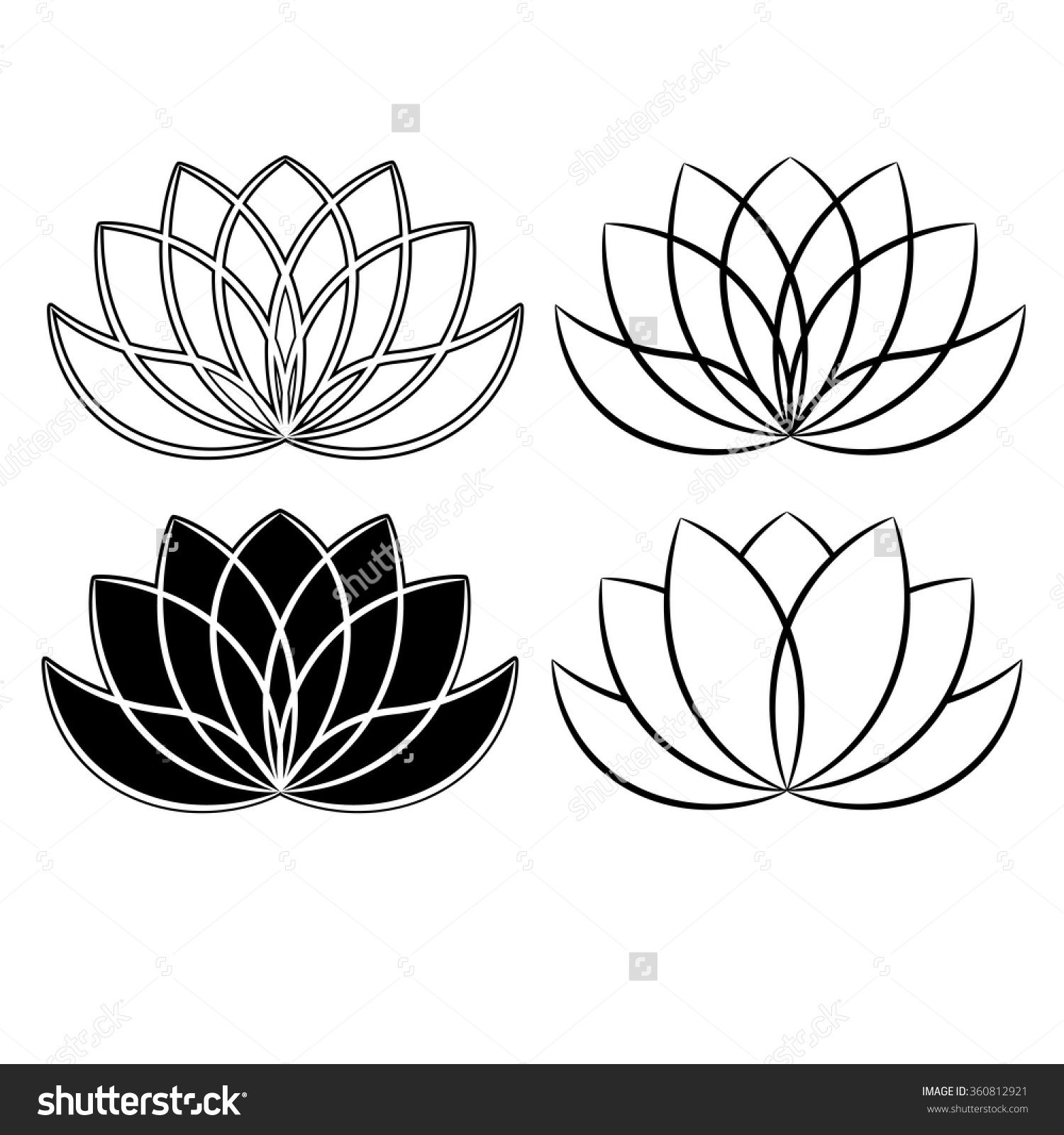 Beautiful lotus flower line illustration. Vector abstract