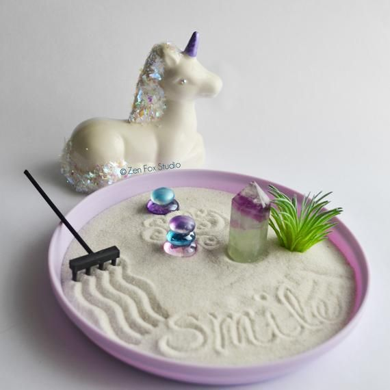 Unicorn Fluorite Crystal Zen Garden // Purple Lover Iridescent Meditation Yoga Decor Unique Valentin    A Zen garden with gravel surfaces, shaped Woods and stones radiates peace and harmony. We give tips on how to create it – both in large format and as a mini-Zen garden.    The central elements of the Zen garden  Stones, plants and water – these are the main components of a Japanese gard... #Crystal #Decor #Fluorite #Garden #Iridescent #Lover #Meditation #Purple #Unicorn #Unique #Yoga #Zen