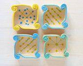 Small clay trays, Four trays,serving trays, ceramic trays, handmade trays, polka dot trays, wedding favors, blue and chartreuse ceramic