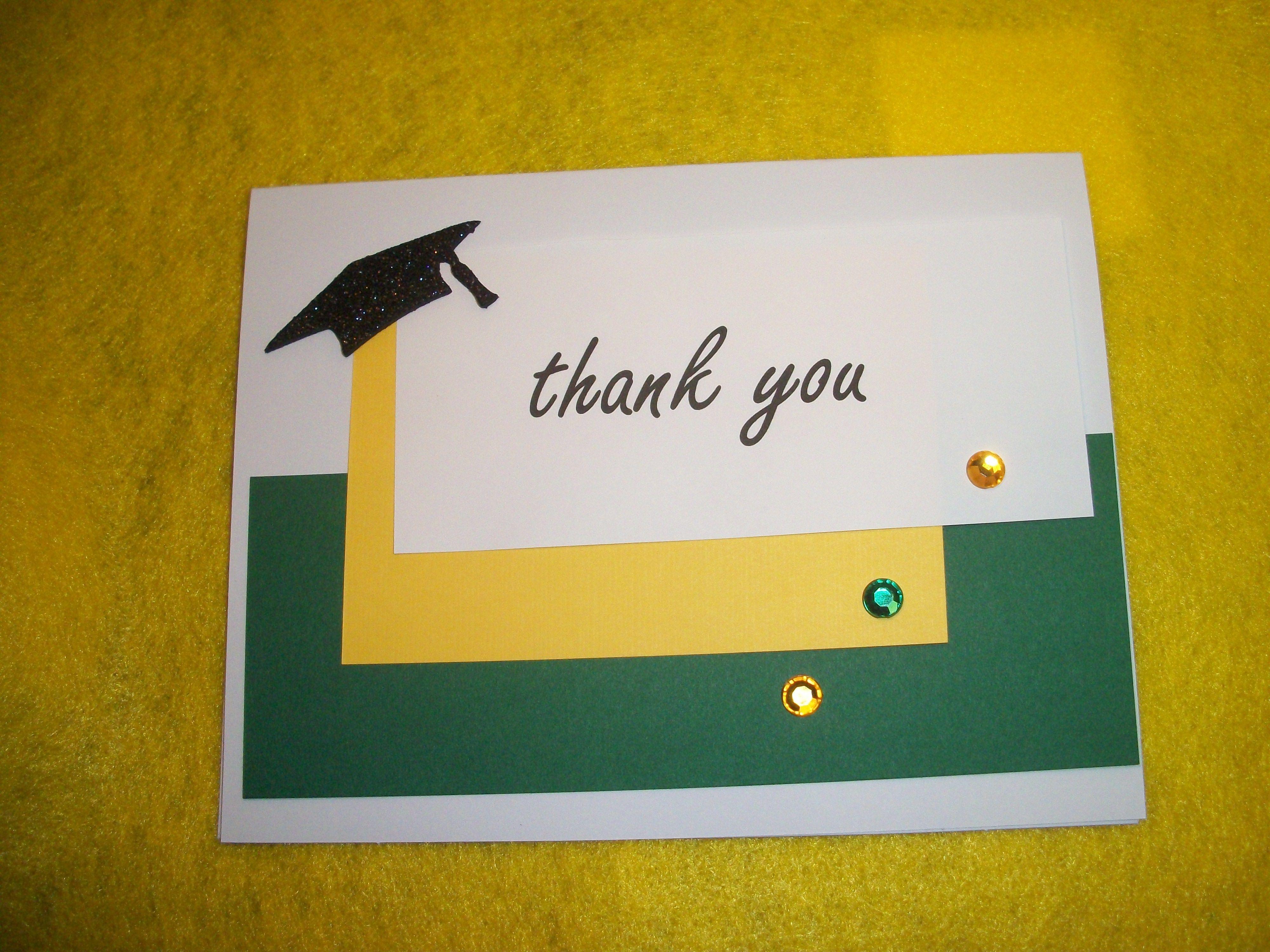 graduation thank you card i made using school colors