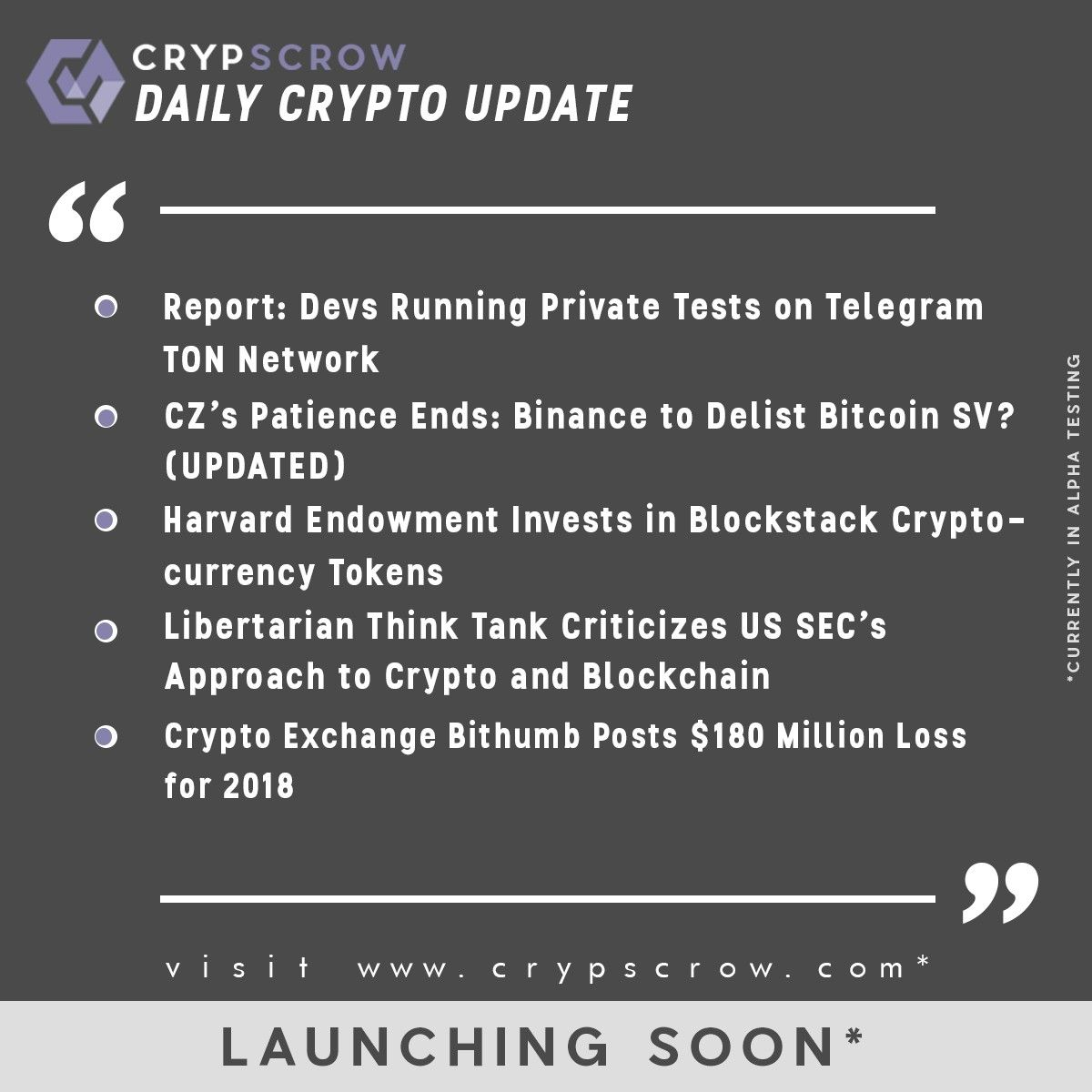Dailycryptoupdate Cryptonews Crypscrow Devs Telegram Ton Cz