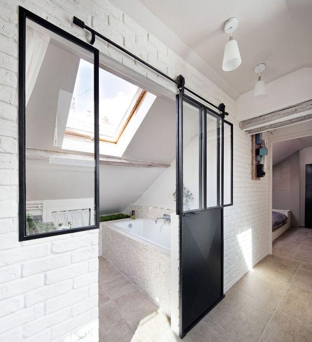 Salle De Bain Avec Verriere #6: Verrière Intérieure : 12 Photos Pour Cloisonner Lu0027espace Avec Style. Petite  Salle De BainLa ...