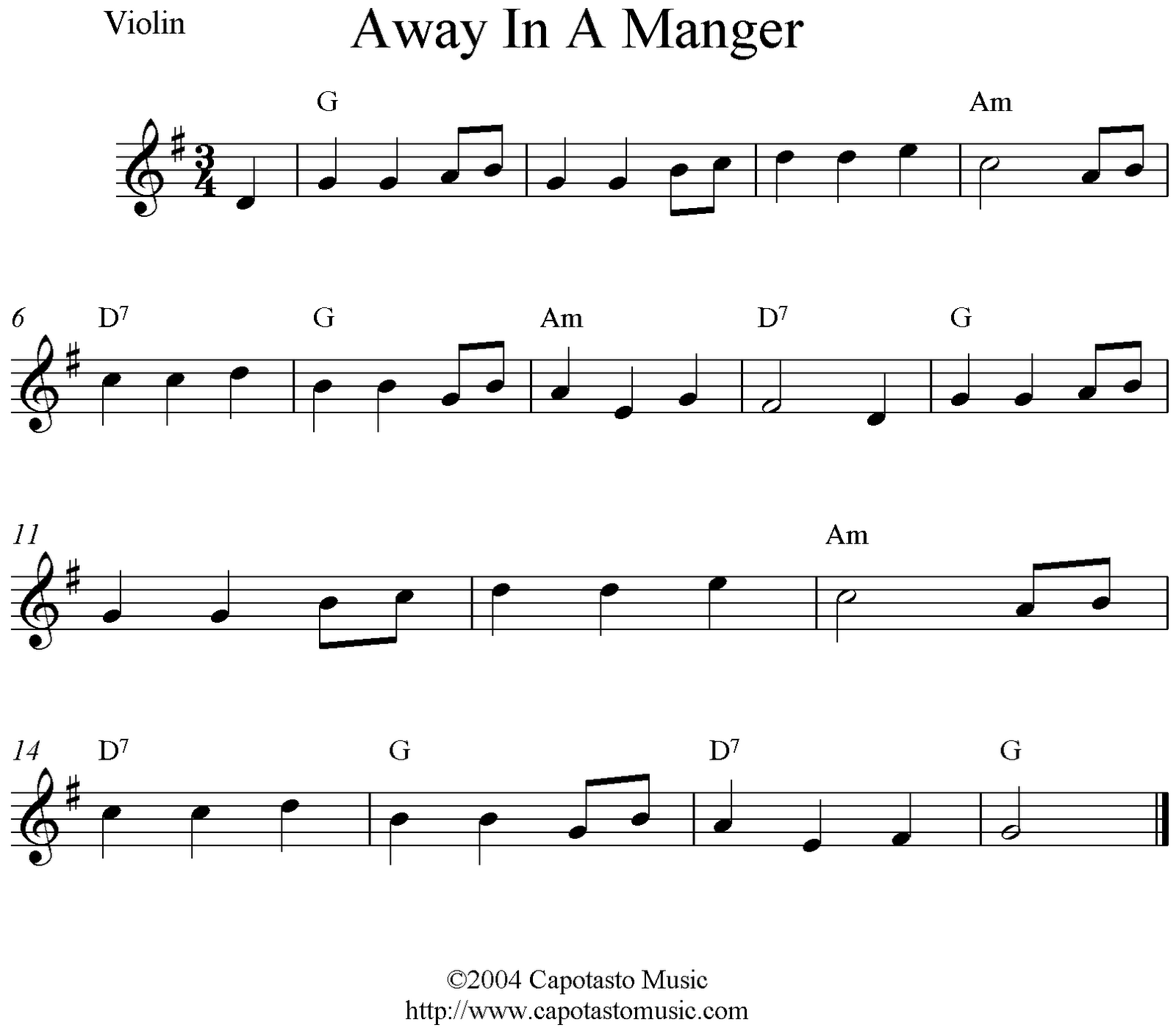 Violin Christmas Sheet Music Away In A Manger In The Key Of E