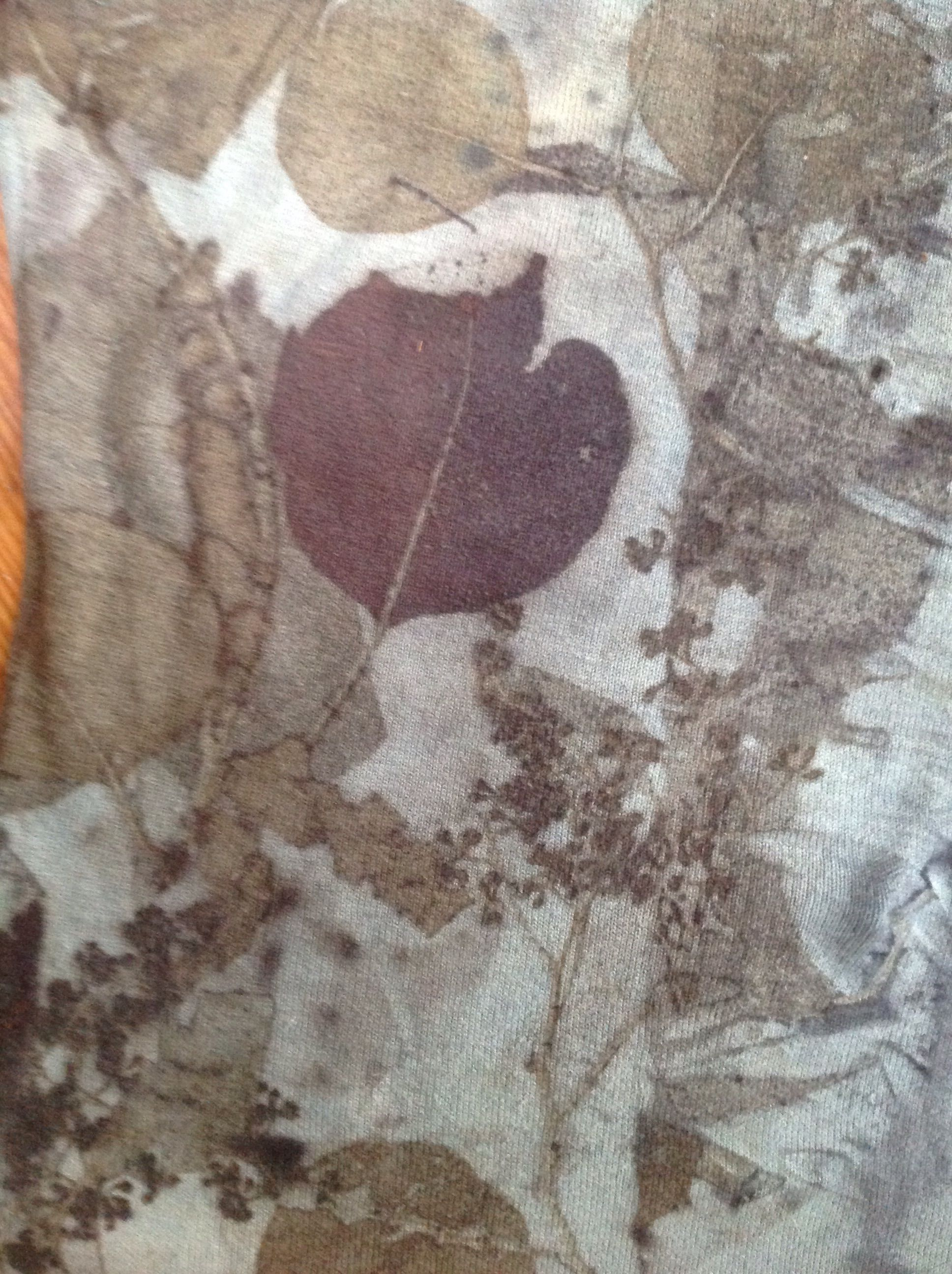 Eco print of smoke bush and other leaves, then dipped in Indigo- by www.tashwesp.com or Felt Fusion by Tash Wesp on FB