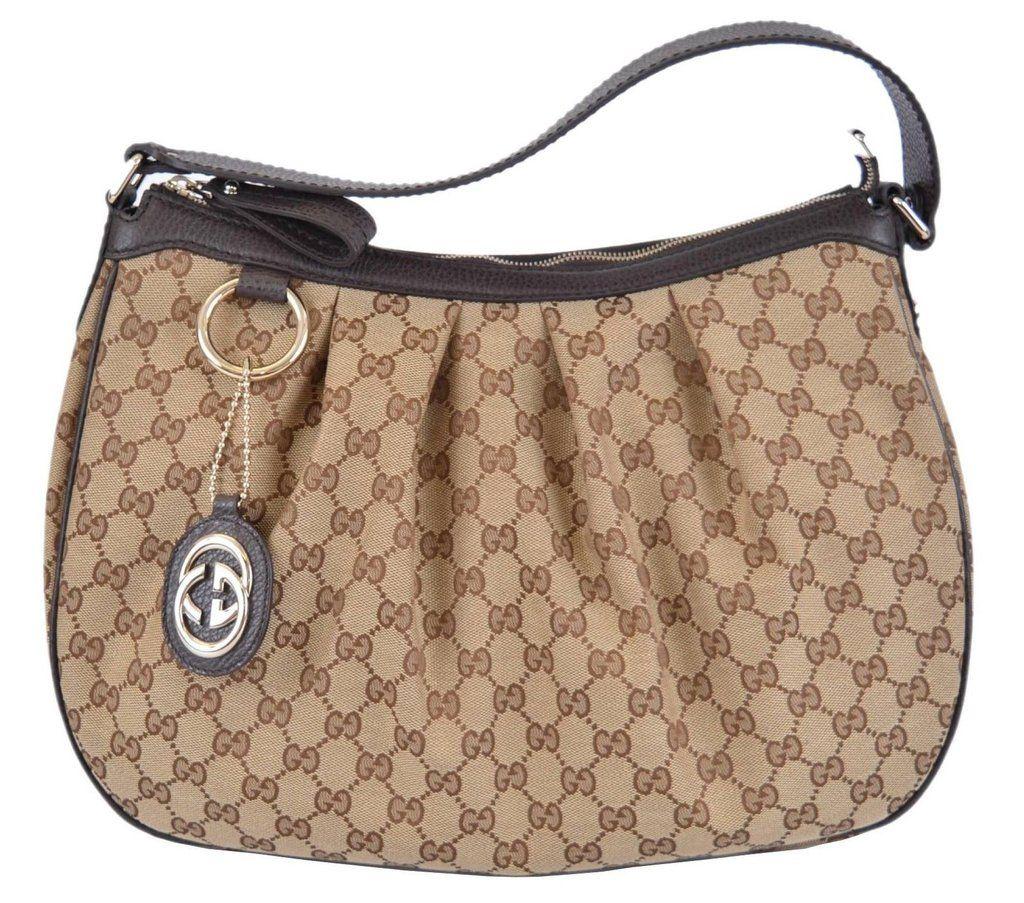 New Gucci 364843 Brown Canvas GG Charm Guccissima Sukey Purse Bag Hobo fc75276fdb900