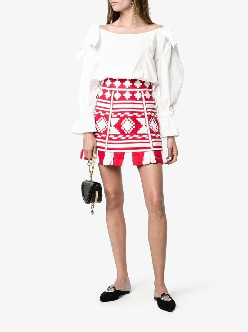 be6512e86 VITA KIN Croatia Embroidered Linen Mini Skirt, Red Multi Hemline, Tassels,  Geometric Embroidery