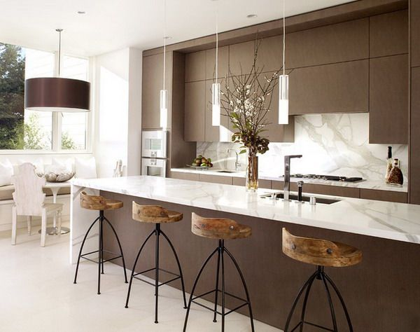 Contemporary Kitchen Design Stunning Contemporarykitchendesignwithstunninghighkitchenchairs Inspiration Design