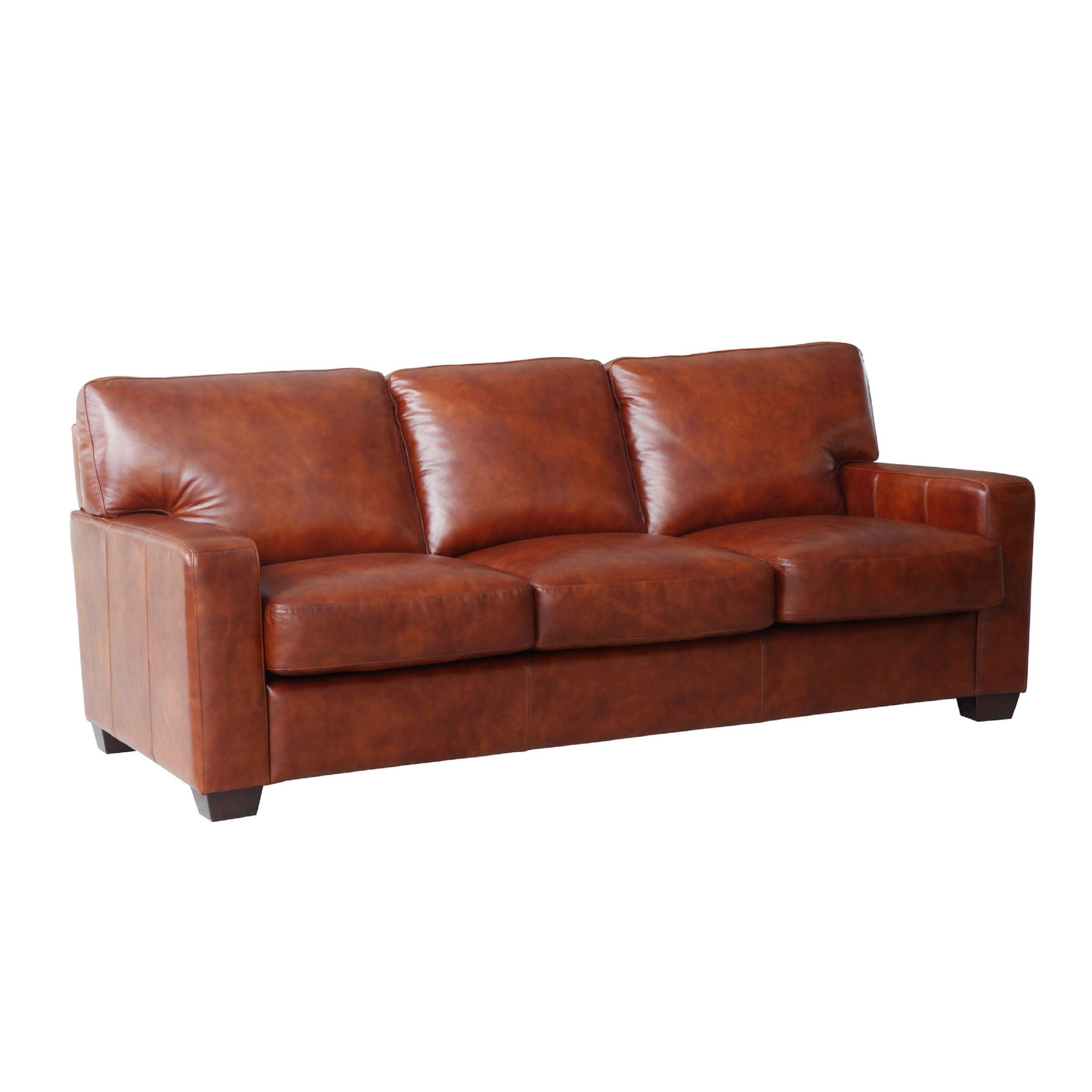 Lazzaro Leather Aberdeen Auburn Sofa Brown Fabric
