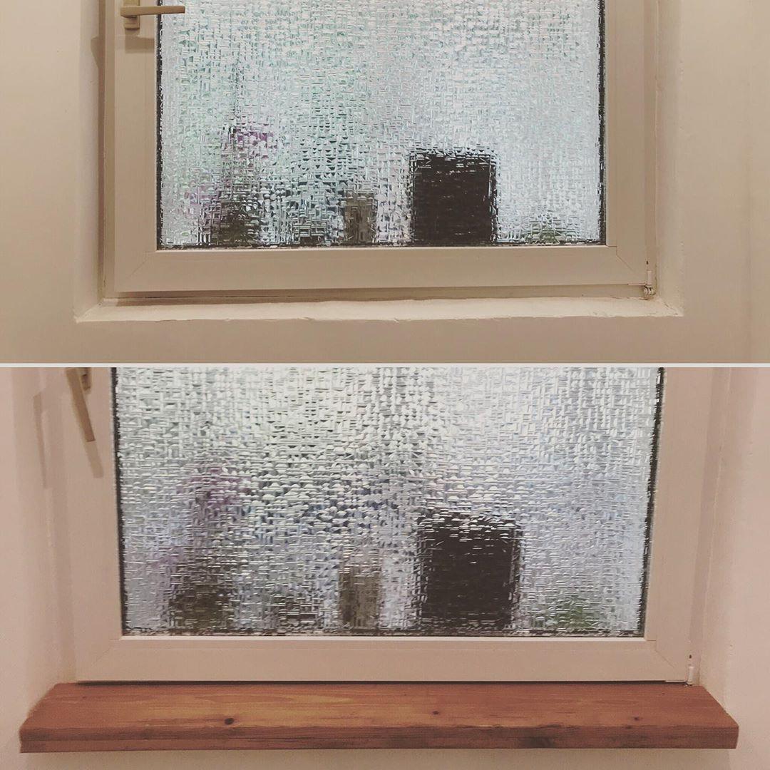 Vorher Nachher Fensterbank Im Bad Liebst Du Auch Akzente Aus Holz Holzarbeit Holz Inneneinrichtung Innendesign Badezimmer Fensterbank Windows