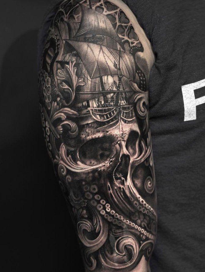 Baroque Ship Pirate Tattoo Sleeve Pirate Tattoo Pirate Skull Tattoos