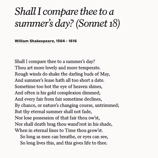 sonnet 18 compared to sonnet 30