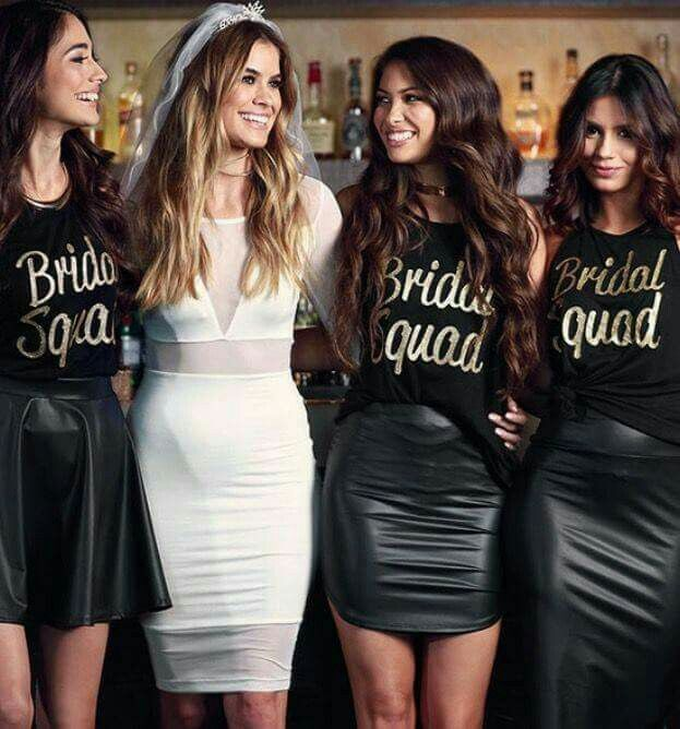 Bride Squad Outfits Leather Skirts Diff Styles Matching Shirts With Location