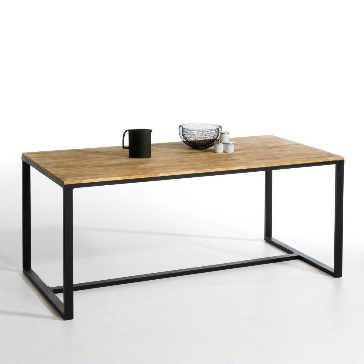table 6 8 couverts en noyer massif et acier hiba 240 d coration. Black Bedroom Furniture Sets. Home Design Ideas