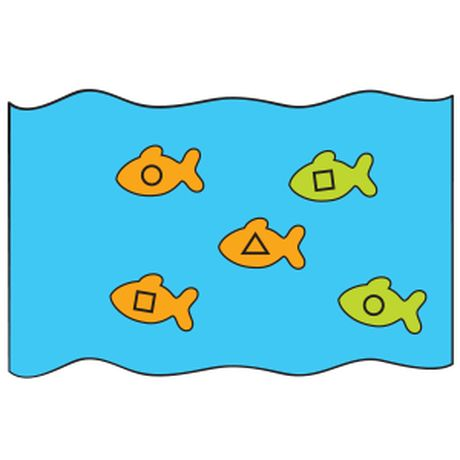 Obtain a blue sheet or shower curtain (ocean). Also label a class supply of fish cutouts with desired shapes. Instruct each child to hold the edge of the ocean; then place the fish in the center. Encourage youngsters to shake the ocean vigorously to create gigantic waves. When all the fish have spilled onto the floor, have each student retrieve a fish. Next, name one of the shapes. Then have each child with a corresponding fish toss it back into the ocean.