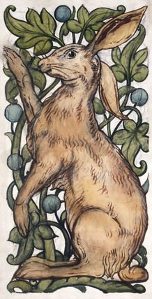 Seated hare and fruited foliage, by William De Morgan (1839-1917). England, late 19th century.
